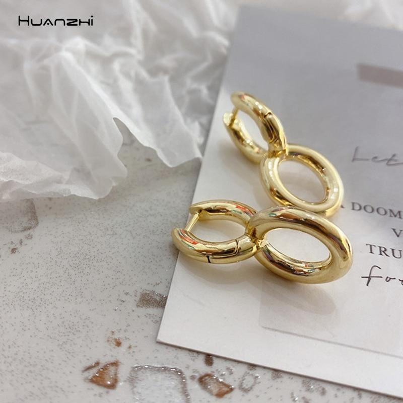 HUANZHI 2020 новые серьги-гвоздики в форме u-образной формы с золотым металлическим неровным геометрическим узором, винтажные женские вечерние ю...