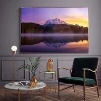 Peinture a lhuile de paysage de montagne  nuage de neige  lever de soleil de mer  toile dart  salon  couloir  bureau  decoration murale de la maison