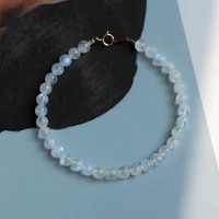 lily jewelry natural real moonstone bracelet 3 4mm 925 sterling silver gold color clasp men or women bracelet