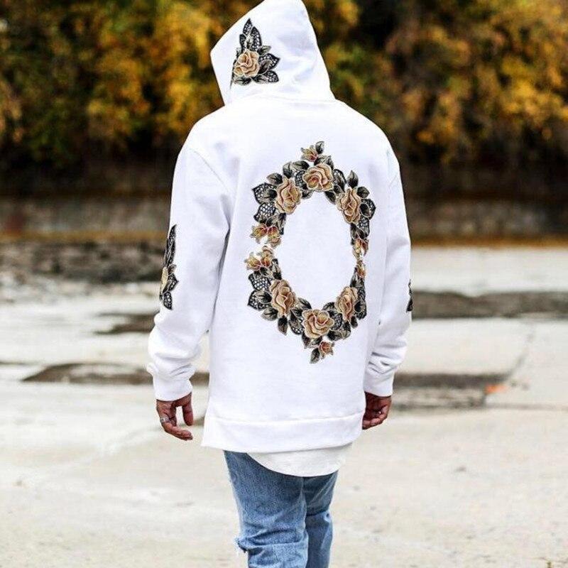 Мужские толстовки с капюшоном, черные пуловеры с 3D цветочным принтом в стиле хип-хоп