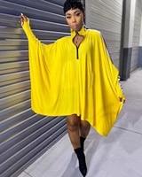 women mini dress sport style casual solid batwing sleeve dress