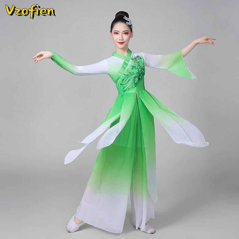Классические национальный костюм Янко для женщин, традиционный фанатский танцевальный костюм для древнего китайского народного танца, оде...