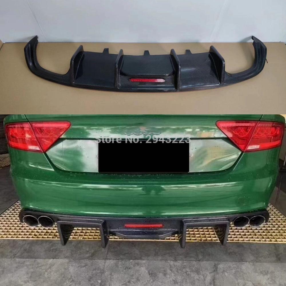Para Audi A7 Sline S7 parachoques 2012-2015 de fibra de carbono y Spoiler trasero difusor parachoques Protector de placa de deslizamiento con luz Led