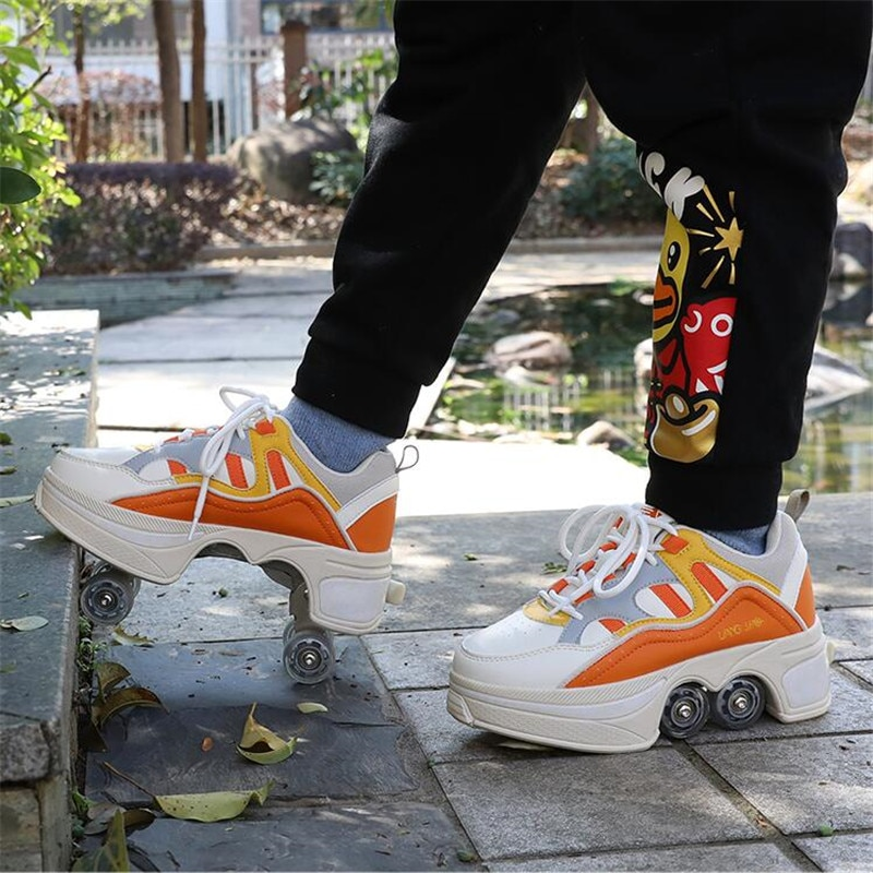 Hot Shoes Casual Skates Deform Wheel Skates For Adult Men Women Couple Shoes Childred Runaway Skates Four-wheeled Walk Sneakers enlarge