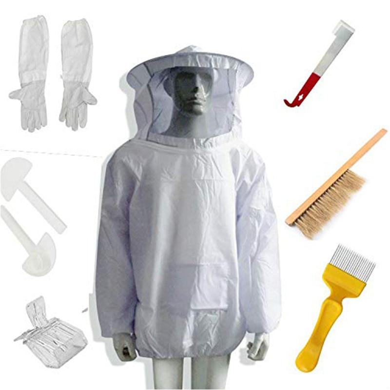 بدلة مربي النحل الجديدة ، قفازات سترة النحل ، فرشاة خلية النحل ، مجموعة أدوات خلية خطاف J ، 8 مجموعات