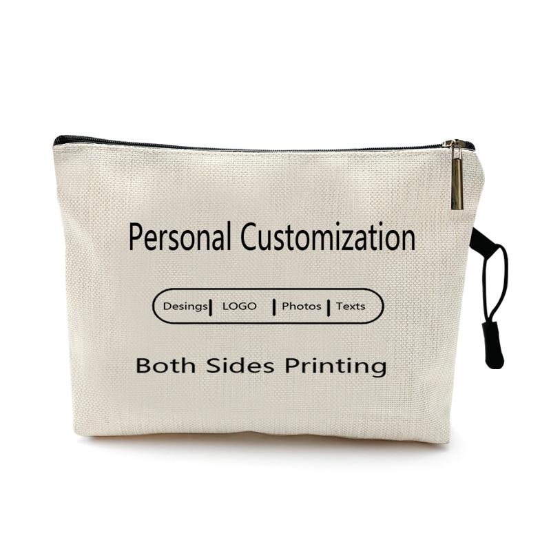 Personal Custom DIY Logo Makeup Bag Pouch Travel Outdoor Girl Women Cosmetic Bag Toiletries Organizer  Lady Storage Make up Case