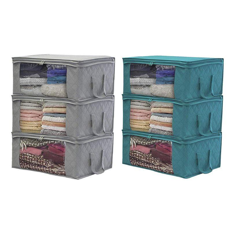 Bolsa de almacenamiento plegable, organizadores, ideal para ropa, mantas, armarios dormitorios X4YD