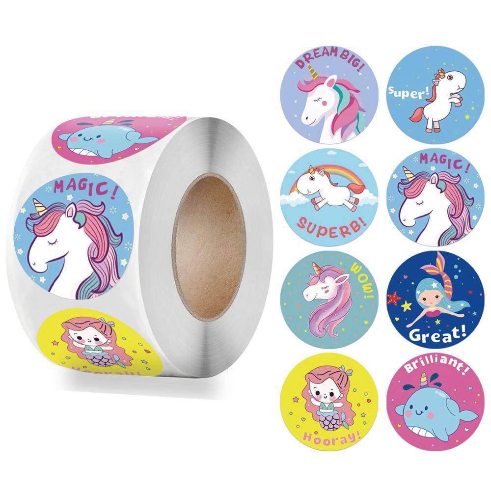 Reward Sticker for Kids Mermaid Unicorn Animal Cute Pattern 500pcs/roll 1 inch 8 Designs School Teacher Supplies Child Sticker