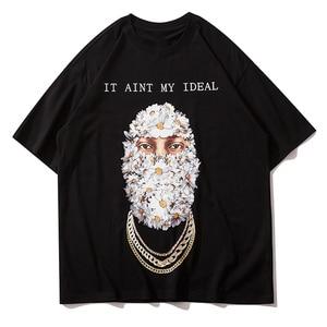 LACIBLE Streetwear Harajuku Tees Men Hip Hop Gothic Punk Daisy Head Print Short Sleeve Tshirt Cotton Casual Loose High Street