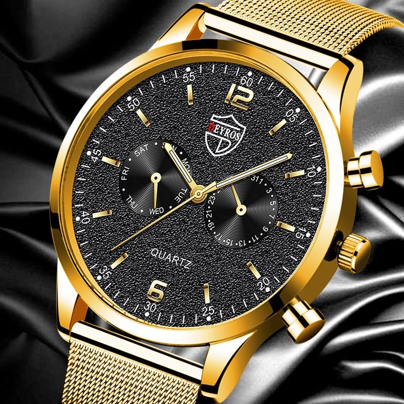 Fashion Mens Sports Watches Luxury Stainless Steel Mesh Belt Quartz Wrist Watch Men Business Leather