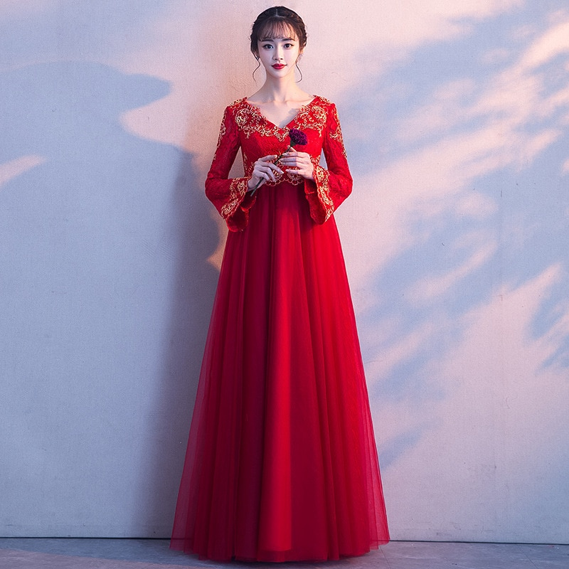 v-neck Long Style Red Wedding Dress Lace Strap Polyester Dress High Waist Long Sleeve Formal Dress For Pregnant Woman ZL630 enlarge