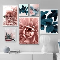 peony aloe dahlia flower leaves abstract wall art canvas painting nordic posters and prints wall pictures for living room decor