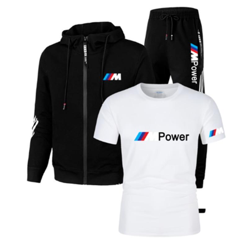 2021New BMW M الرجال لكرة القدم جيرسي ملابس رياضية عصرية مقنعين دعوى الربيع رقيقة جاكيت زيبرا السراويل ثلاثة قطعة رياضة الجري البدلة