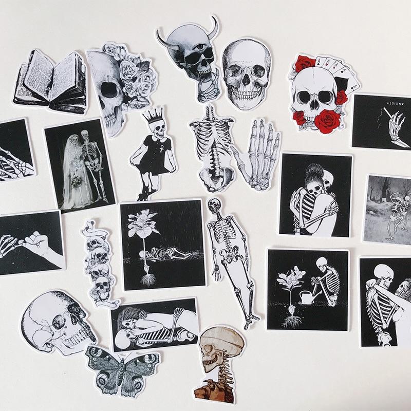 23-pz-pacco-vintage-bianco-nero-di-scheletro-del-cranio-lover-sticker-fai-da-te-scrapbooking-album-spazzatura-ufficiale-planner-adesivi-decorativi