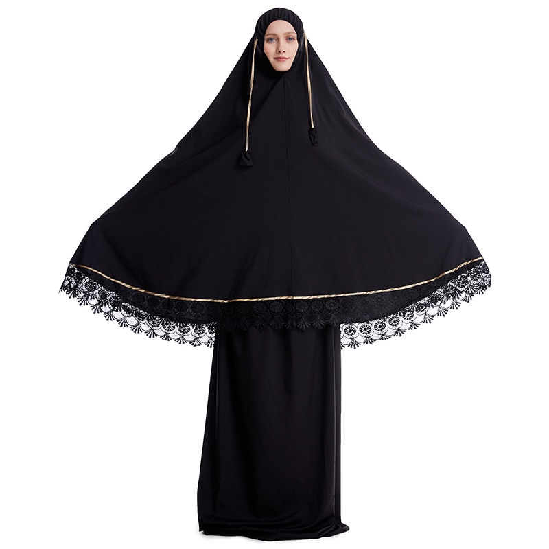 Formal Muslim Prayer Garment Sets Women Hijab Dress Abaya Islamic Clothing Turkey Lace Namaz Long Khimar Jurken Djellaba Abayas