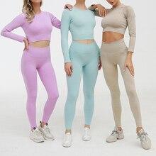 2 Delige Set Vrouwen Geribbelde Naadloze Yoga Sets Workout Kleding Voor Vrouwen Hoge Taille Sport Legging Lange Mouwen Top En crop Bra