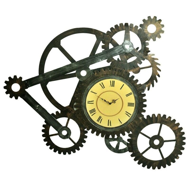 American Retro Industrial viento hierro Mural de engranajes decoración de pared Lager Reloj de pared Hangings Bar loft reloj decoración del hogar 95*70*3 cm