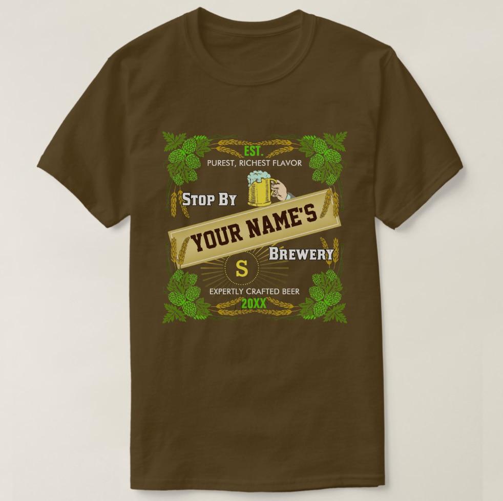 2019 hombres impresos Camiseta de algodón de manga corta cerveza nombre personalizado Hops cebada Cool camiseta mujer camiseta