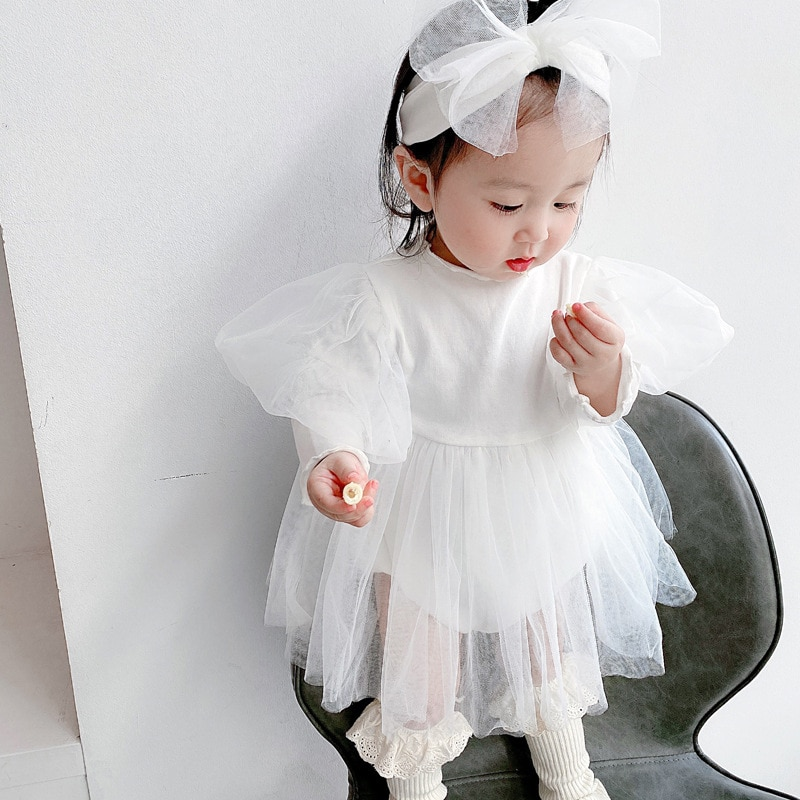 Yg Brand Children's Wear, 2021 New Bubble Sleeve Baby Dress, Out Long Sleeve Lovely Princess Skirt, 0-2 Years Old Baby Clothing