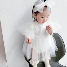 Yg Brand Children's Wear, 2021 New Bubble Sleeve Baby Dress, Out Long Sleeve Lovely Princess Skirt,