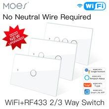 ใหม่ WiFi สวิทช์สวิทช์ RF433ไม่มี Neutral Wire เดี่ยว Fire Smart Life Tuya App Control ทำงานร่วมกับ Alexa Google บ้าน110V 220V