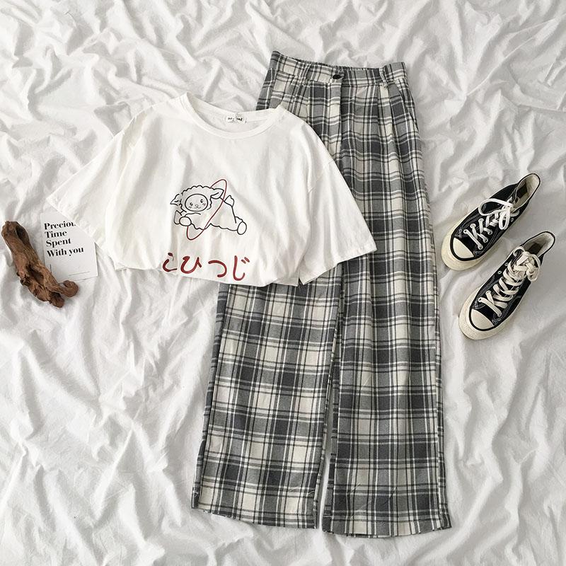 Summer Fashion Plaid Pant Set Women Casual White Short Sleeve T-shirt + High Waist Wide Leg Long Pant Matching Set
