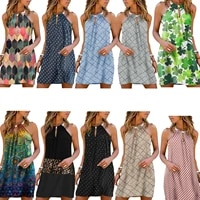 women summer printed dress adults loose sleeveless hollow out halter dress with metal ring female clothing