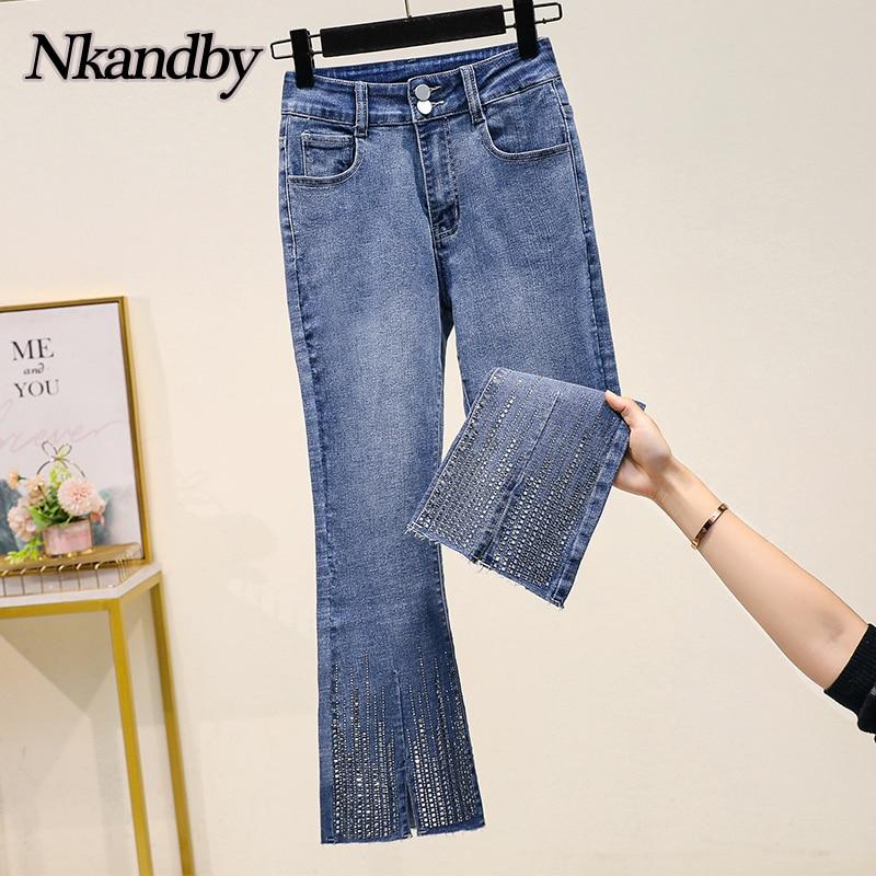 Plus Size Stretch Flare Denim Jeans Women Spring Fashion Diamond High Waist Ankle-length Pants Korea