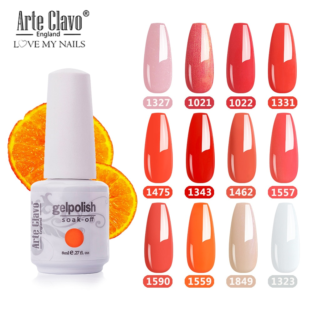 Arte Clavo Gel Polish Base 8ml Orange Color Set Gellack Varnish LED Nail Manicure Paint Art DIY Design Glitter