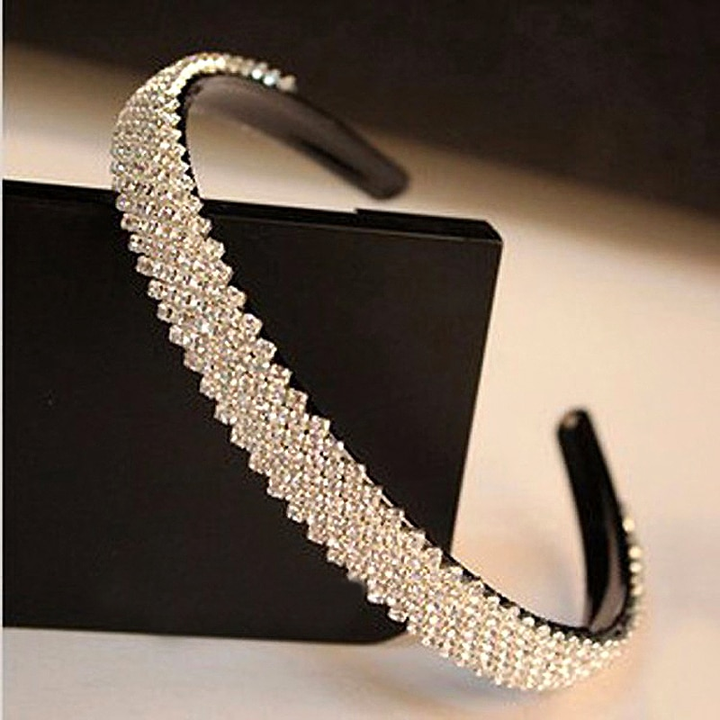 De moda coreana accesorio de cabello para mujer de la joyería de lujo banda de pelo de cristal diademas brillantes Diamante de imitación negro diadema