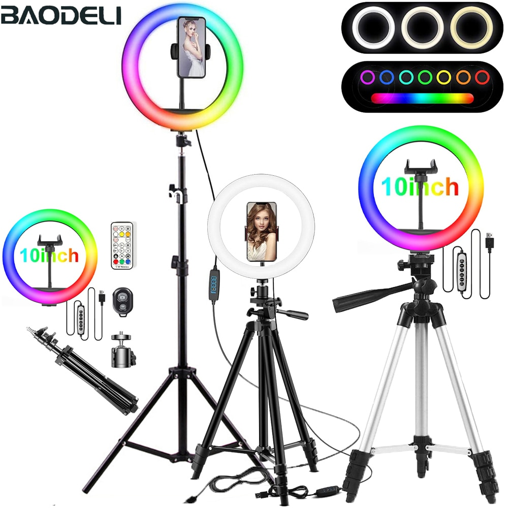 26cm RGB Selfie Ring Light Circle LED Fill Light Dimmable Lamp Trepied Makeup Photography RingLight Phone Stand Holder Tripod