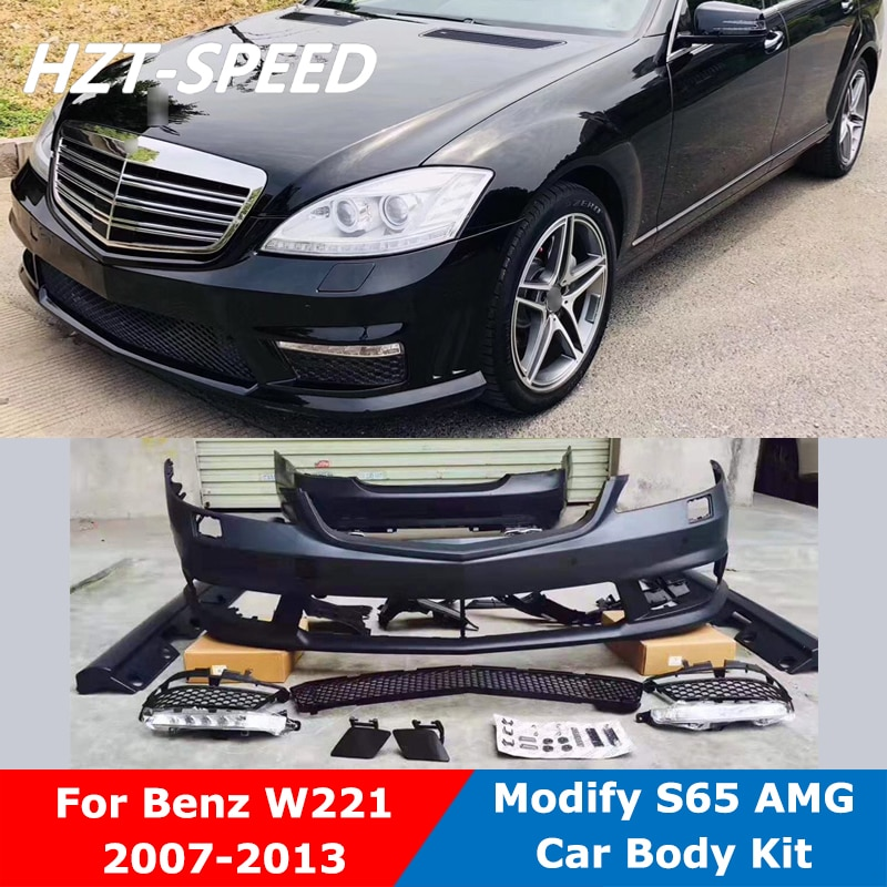 S65 AMG estilo sin pintar Material PP delantero trasero para lateral de parachoques faldas rejilla coche Kit de cuerpo para Benz W221 Clase S modificar 2007-2013