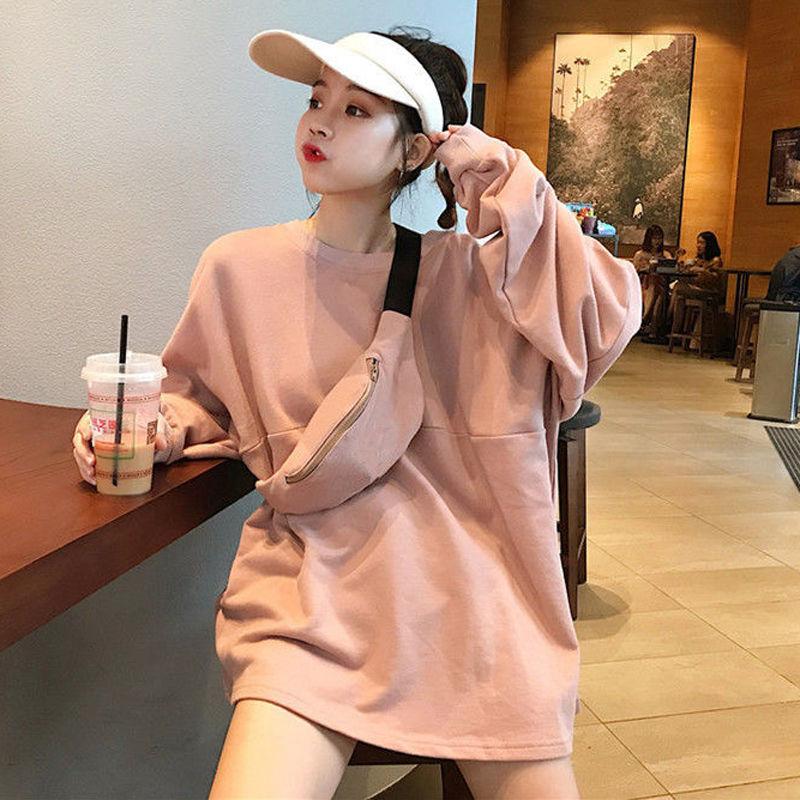 Весна 2020 новые корейские стильные универсальные студенческие тонкие свободные толстовки с круглым вырезом и длинными рукавами женские тол...