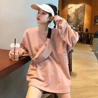 spring 2020 new korean style all match student round neck long sleeve thin loose hoodies female harajuku hoodies