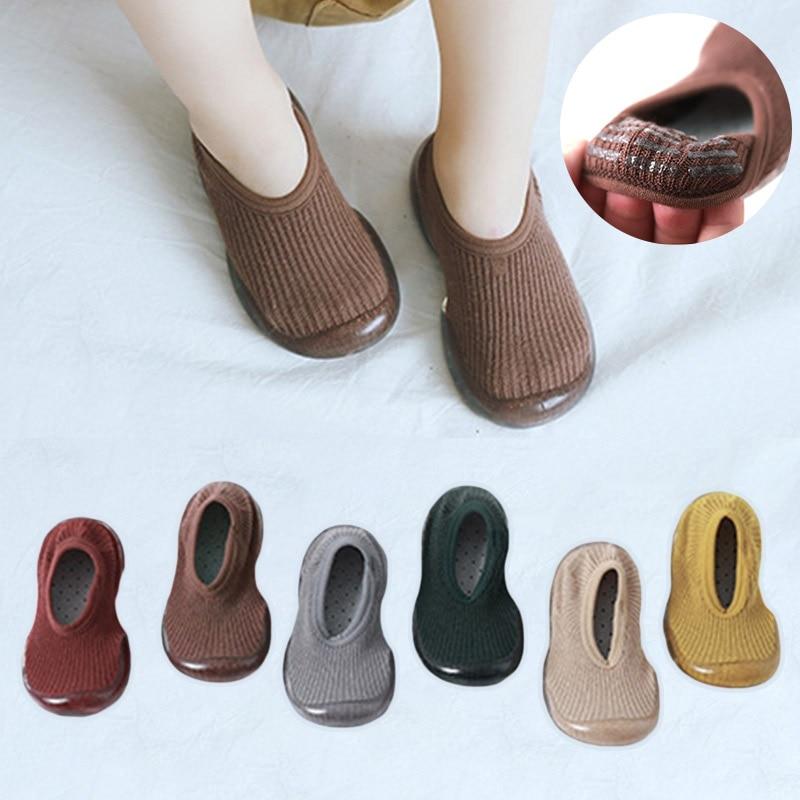 Baby Boys Girls Sock Shoes Autumn Non-slip Floor Socks Kids Soft Rubber Sole Toddler Shoes Socks Baby Socks with Rubber Soles