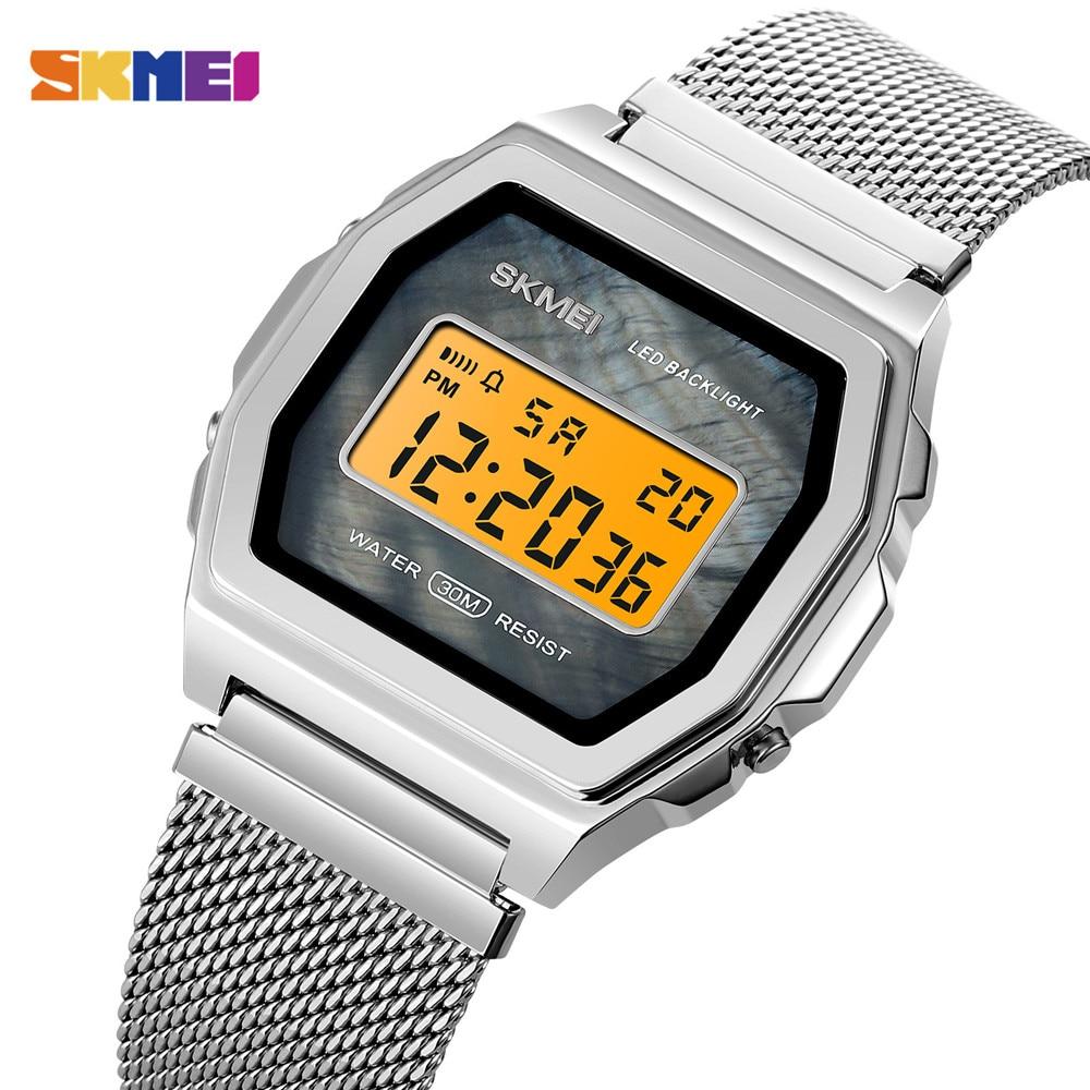 SKMEI Fashion Japan Digital movement Sport Watch Men 3Bar Waterproof Watches Stainless Steel Strap Clock Watch reloj hombre 1806