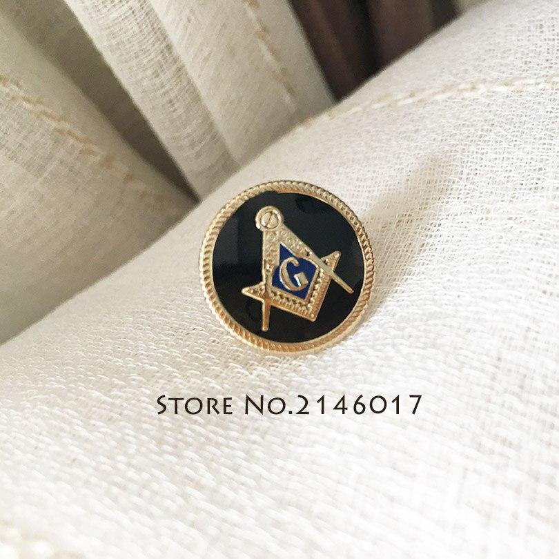 10pcs Wholesale Masonic Masonry Metal Badge Soft Enamel Epoxy Brooch Blue Lodge Gift 15mm Freemason Square and Compass Lapel Pin