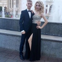 crystal prom dresses 2020 sweetheart beaded a line chiffon side split evening party gowns for graduation 2020