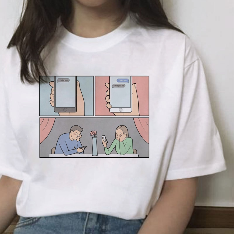 Camiseta con estampado de cómic con ilustración rusa, camiseta Casual para mujer, ropa nueva, Harajuku, camiseta gráfica