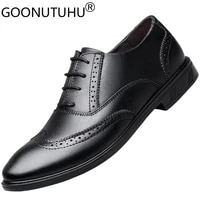2021 style mens shoes derby genuine leather classics black lace up shoe man waterproof comfortable brogue formal shoes for men