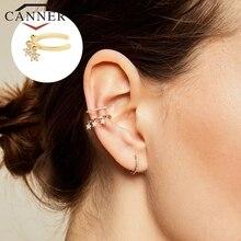 CANNER 1 paire oreille manchettes 925 en argent Sterling oreille manchette pince sur boucles doreilles pour femmes Earcuff pas Piercing faux Cartilage boucles doreilles