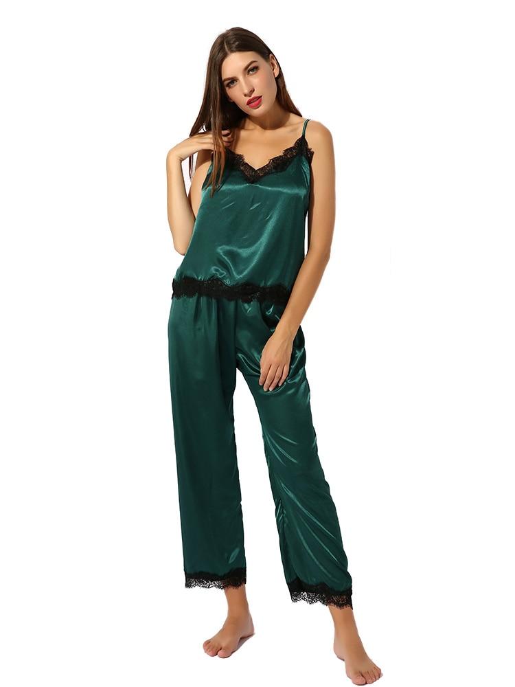 Conjunto de pijama de satén ropa de dormir camisola Top bragas largas suaves PJ conjunto Sexy ropa de dormir suave Homedress