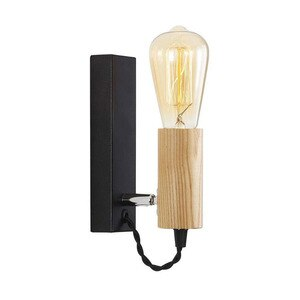 Iron Adjustable Wood Nordic Black E27 Wall Light Fixture Lampara Pared Stairs Led Wall Lamps for Home Lampara De Pared  Lighting