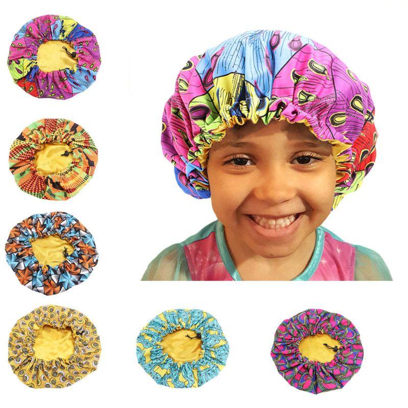 New kids Adjustable African print Ankara Satin Bonnet sleep cap turban hat Night Sleep Beanie Chemo Cap Hair Wrap Accessories