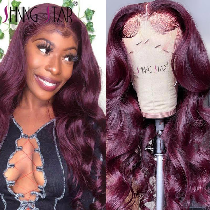 Burgundy Lace Front Human Hair Wigs HD Transparent Body Wave Lace Front Wig Red 99J Colored Lace Frontal Wig Peruvian Lace Wigs