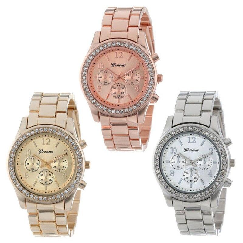 Lovesky 2018 New Fashion Faux Chronograph Plated Classic Geneva Quartz Ladies Watch Women Crystals W