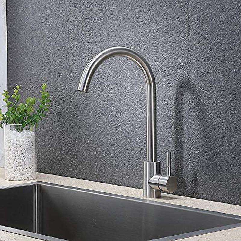 QUEEXU 360 درجة قطب جيد قيمة الحديثة خلاط ساخن وبارد الفولاذ المقاوم للصدأ مقبض واحد نحى الصلب بار بالوعة المطبخ صنبور