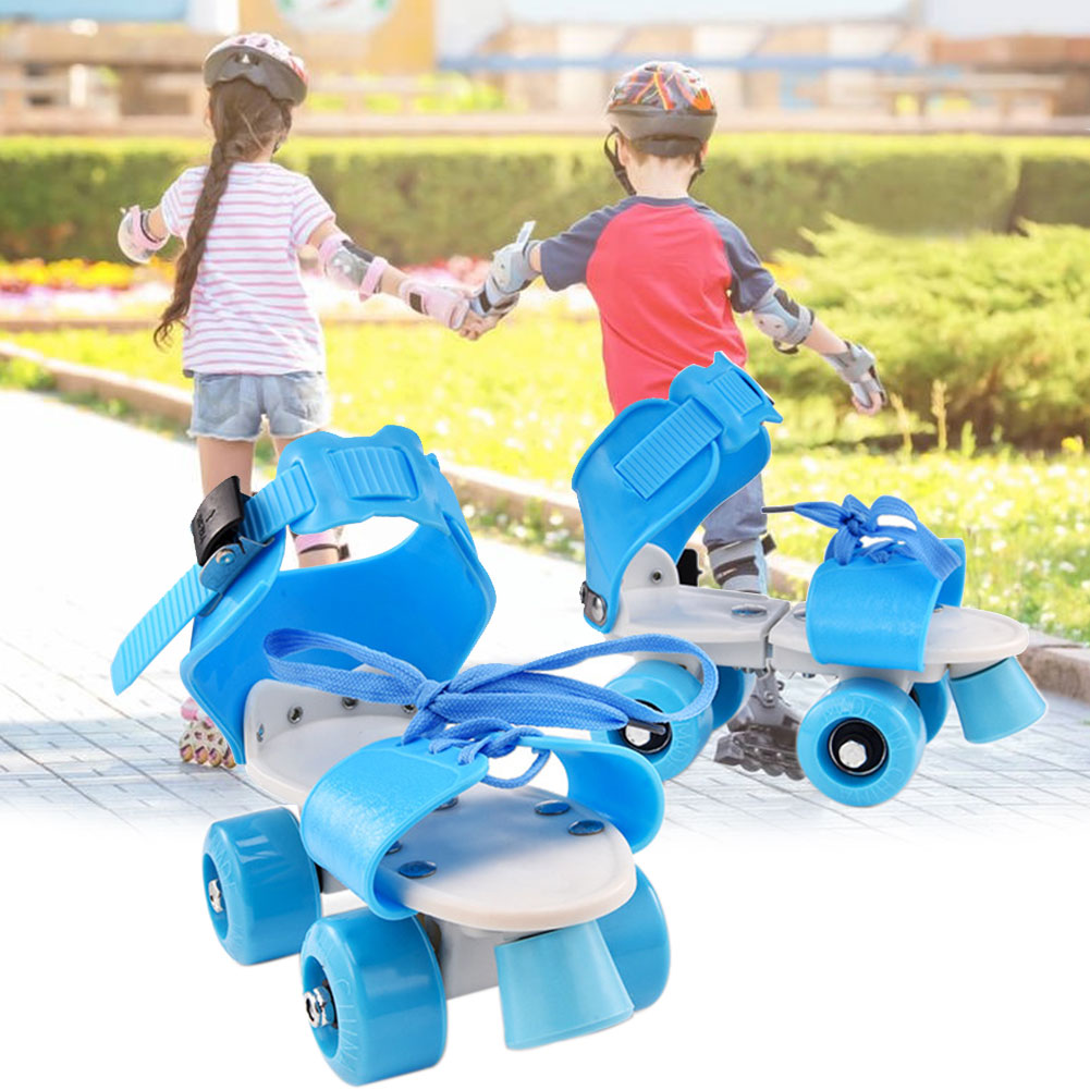 Niña niño antideslizante ABS resistente al desgaste portátil niños fija doble fila niños al aire libre rodillo cuatro ruedas ajustable zapatos de Skate