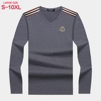 v neck long sleeve t shirt mens autumn cotton loose large mens t shirt backing shirt casual top middle age mens wear