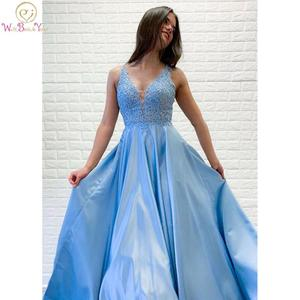 Prom Dresses 2020 A-line V-neck Floor Length Sky Blue Prom Gown with Lace Appliques Satin Illusion Evening Formal Party Gowns